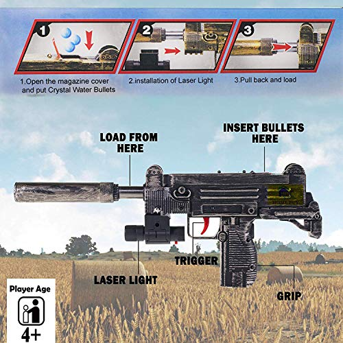 HOME BUY Plastic PubG Theme Gun Toys Set with Assault Rifle M416 Model, 4X Design Scope, Toy Knife, Water and Soft Foam Bullets Role Play Game for Kids (Multicolour) (Gun Toys Set)