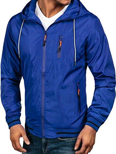 BOLF – Veste – Blouson - Fermeture éclair – À capuche – Manches longues – Motif – Homme [4D4] Bleu moyen