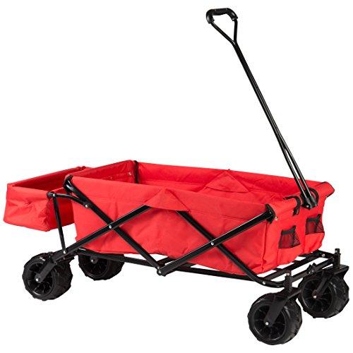 Ultrasport faltbarer Bollerwagen, Handkarre mit Transporthülle, praktischer Outdoor- und Picknickwagen, ideal für Ausflüge & Strand, inkl. Transporttasche, rot, belastbar bis 100 kg