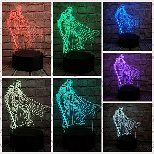 Die Klone Star War Black Knight 3D LED Lampe Farbwechsel Dark Vader Anakin Nachtlicht Party Dekoration Kid G