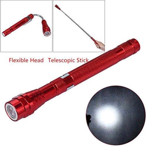 Magnet Flexibel Teleskopisch Taschenlampe, Siswong Abholen Werkzeug Hände frei Arbeitslampe Inspektionsleuchten Laternen Stirnlampe (Rot)