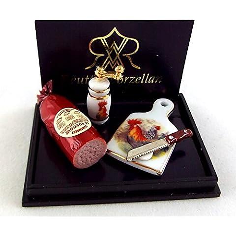 Dolls House Miniatura Accessorio Reutter Porcellana Affumicato Prosciutto Spuntino Consiglio Set - Prosciutto Affumicato