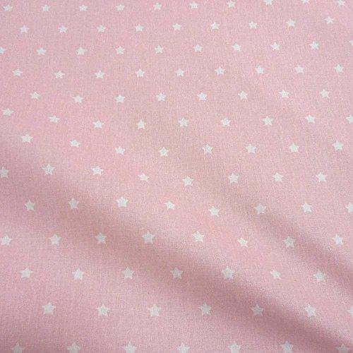Stoff Meterware wasserdicht Sterne rosa weiß klein Wachstuch Tischdecke abwaschbar