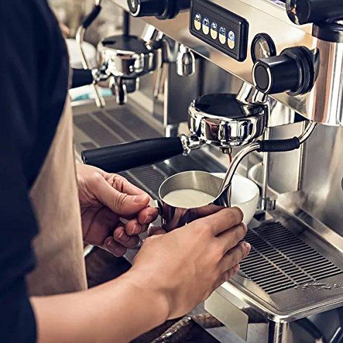 ONEHOUS Milchkännchen Edelstahl 350ml, Milk Jug, Milchaufschäumer Perfekte Größe für 2 Cappuccino Tassen, Barista Stift für Latte Art, Einfach zu Reinigen, Silber - 6