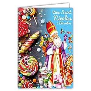 68-1103-A Carte Bonne Fête de Saint Nicolas 6 Décembre Enfants Sages Jouets Bonbons Sucreries Gourmandises Friandises Animaux Chien Lapin