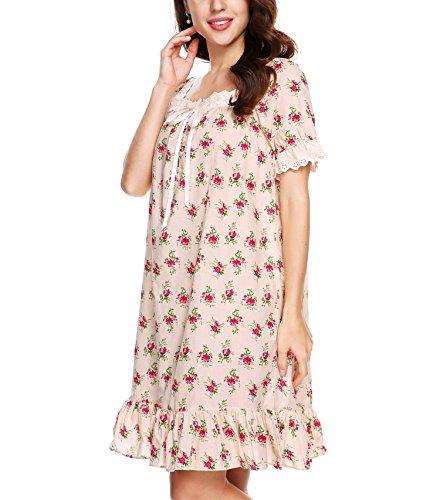 Nachtkleid Damen, Sondereu Baumwolle Kurzarm Quadrat Hals Kurz Lang Retro Vintage Locker Reine Farbe Dessous Kleid Nachthemd Nachtwäsche mit Spitze Rosa Rot