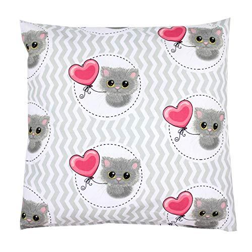 TupTam Kissenhülle Dekorativ Gemustert Dekokissen Baumwolle, Farbe: Katze mit Ballon / Grau, Größe: 40 x 60 cm