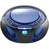 Lenco SCD-550 Blue | Portable Stereo FM Radio with CD, Bluetooth, USB and Disco Party Lights - Blue Party Boombox