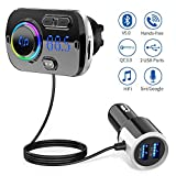 Bluetooth FM Transmitter 5.0 Handsfree Car Kit with 2 USB Ports Quick Charge