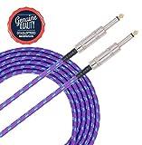 Sonobono Profesional Cable de Nivel de Estudio de grabación, Perfecto para Guitarra Eléctrica, Electroacústica, Bajo, y teclado, Suprema Calidad Trenzado Tweed Chaqueta (3M/10 Feet, Azul Violeta)
