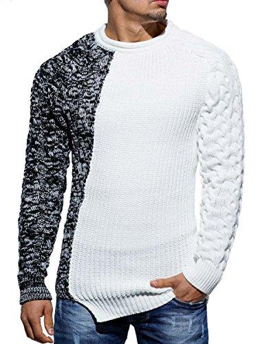 Maglione Fatto a maglia felpa da uomo maglioncino invernale effetto asimmetrico in maglia slim fit bianco M