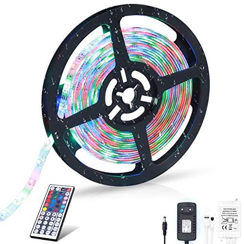 LED Strip, LED Streifen 5M RGB lichterkette 300 leds SMD2835 IP65 Wasserdicht Dimmbar Lichtband mit 44 Tasten Fernbedienung 12V 3A Netzteil, Deko für Küche, Terrasse, Party und ganzes (RGBW) -