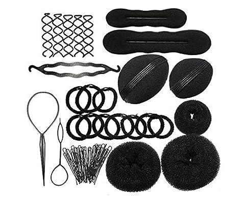 JZK® Fashion cheveux Styling Accessoires Concepteur de Chignon , Rouleaux, Torsade de tresse, Élastiques, Pinces à Cheveux , noir (Cheveux