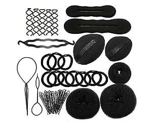 JZK Set strumento ciambelle chignon, attrezzo per dare volume dei capelli, forcine + ciambelle + spugna + elastici, fermacapelli accessori per acconciature treccia capelli