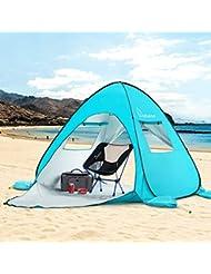 WolfWise Carpa de Playa UPF 50+ Pop Up Fácil 3-4 Personas Carpa de Refugio de Sol Instante Carpa Sombrilla Toldo para Bebé