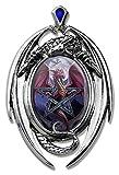 Lunar Magic–Drachen Cameo Oval Cabochon Stil Anhänger Halskette in Dragon Fassung mit Diamant geformten Stein, der auf Top,,–Artwork von Anne Stokes