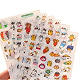 Freessom 18 Fiches Autocollant Stickers Adhésif Transparent Motif Chat Cartoon Mignon Kawaii Dessins Décoratif Décoration de Calendrier Album Scrapbooking Journal Intime Agenda Artisanat DIY Fourniture Scolaire Kawaii Original Fun Pas Cher Cadeau