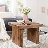 FineBuy Massiver Couchtisch PATAN Sheesham 60 x 60 x 40 cm Holz Tisch Massiv | Wohnzimmertisch Quadratisch Braun | Beistelltisch Massivholz | Kleiner Design Sofatisch Palisander Holztisch Wohnzimmer