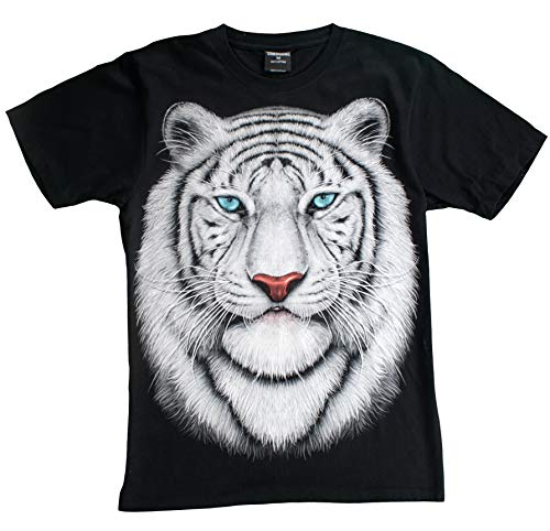 T-Shirt 3D Glow IN Dark Tier Mann Unisex (Large, White Tiger 1 Portrait ()