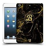 Head Case Designs Personalisierte Individuelle Marmorisierte Flüssigkeit Schwarzer Gold Monogramm Ruckseite Hülle für iPad Mini 1 / Mini 2 / Mini 3
