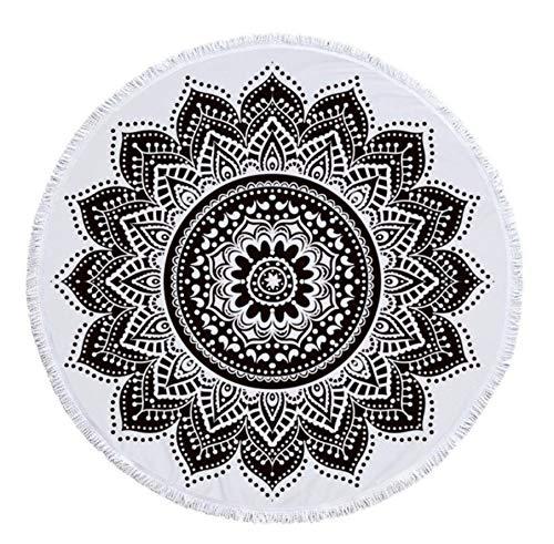 Shengbuzailai Indisches Mandala Strandtuch Runde Mikrofaser Strandtücher Große Decke Picknick Yoga Matte Boho Style Sonnenbad Badetuch Tischdecke 150Cm * 150Cm - Hd-floor-maschine