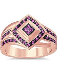 Silvernshine 1.35Ctw Round Cut Pink Sapphire Sim Diamonds 14K Rose Gold Plated Engagement Ring