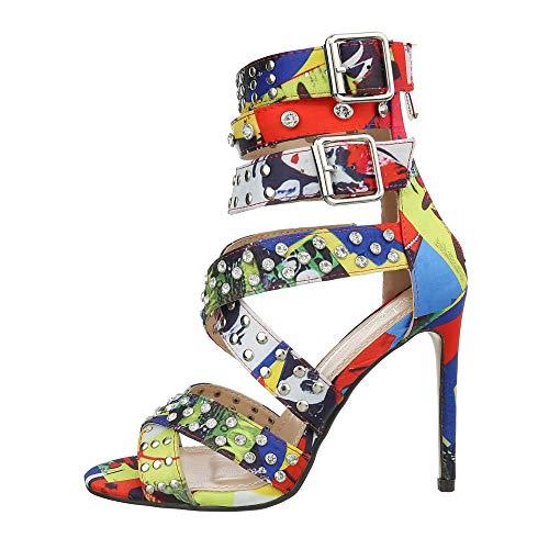 Ital-Design Damenschuhe Sandalen & Sandaletten High Heel Sandaletten Canvas Rot Multi Gr. 39 -