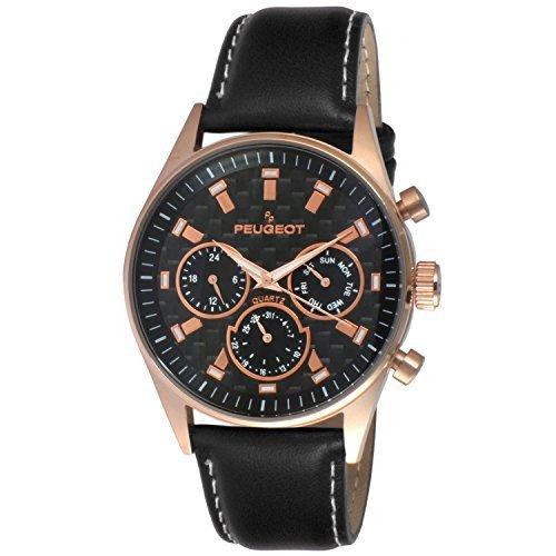 Peugeot pour homme Multi Cadran chronographe montre de sport avec bande de cuir noir 2048rbk