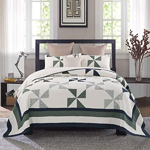 3 Stück geometrische Quilt Set, abstrakte Dreieck Moderne Muster gedruckt, Baumwollgewebe weiche innere Füllung Tagesdecke Bettdecke Bettwäsche (1 X Bettbezug + 2 X Kissenbezug),King -