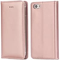 iPhone SE Case, iPhone 5S Case, IPHOX Magnetized Closure Card Slots Money Pouch, Retro Leather Wallet Case Purse Protective Cover Stand Feature Flip Book Case for iPhone 5s / 5 / SE - Rose Gold /E
