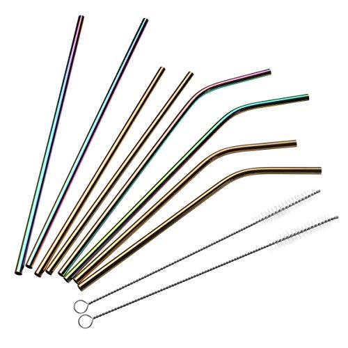 GIlH Edelstahl Stroh Sets Lange Metall Umweltfreundliche Trinkhalm-Kit mit 2 Bürsten Tasche -