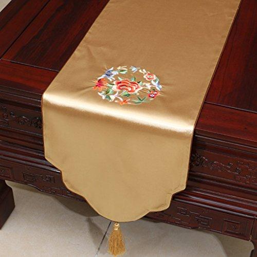 QiangZi Chemin De Table Chinois Classique Motif Floral Nappe Doux-au-toucher Tissu De Luxe Se Sentir Napperon En Forme De V, 33 * 230CM ( Couleur : Le jaune , taille : 33*200CM )