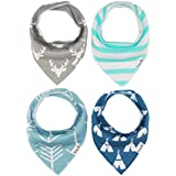 Baby Bandana Drool Bibs Burp Cloths Boys Girls Unisex With Snap Absorbent Cotton For Teething Feeding Hypoallergenic For Infant Boys Shower Gift Set 4 Pack By Busy Mom Deer