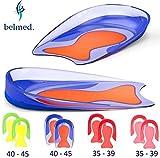 Fersensporn Einlagen - 1 Paar - Gel Fersenkissen - Schuheinlagen aus Medizinischem Silikon - Fersenpolster - Fersensporn - Gelkissen - Geleinlagen - Plantarfasziitis - Einlagen - fersensporn einlegesohlen - (Blau/Orange - Größe 40 - 45)