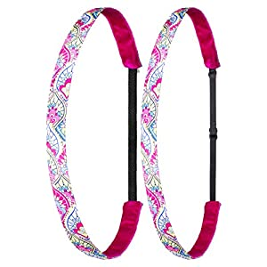 Ivybands® Mom's & Kids Edition | 2-er Pack | Kids Play | Pink Weiss Gelb | Anti-Rutsch Haarband für Mutter/Mütter & Kinder/Kind | Kinderhaarband IAMKID012