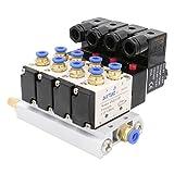 heschen Elektro-Pneumatische 4Magnetventil 4V210–08DC 12V PT1/45Way 2Position vielfältige Boden Schalldämpfer Quick Fittings Set