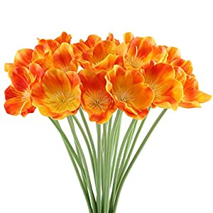 HUAESIN 20PCS FloresArtificialesAmapolas Plasticas Flores de Boda Ramo Plantas Artificiales para Exteriores e Interiores Decoración del Hogar Boda Jardines Hoteles Restaurantes Cementerios Naranja