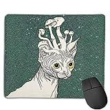 Design Rechteck Rutschfeste Gummi Gaming Mousepad (kanadische Katze mit Pilz)