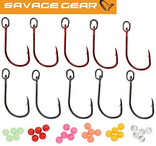 Savage Gear S1 Single Hook Kit - 10 Angelhaken zum Meerforellenangeln, Einzelhaken für Durchlaufblinker, Haken für Blinker, Größe:4/0 S1 Kit