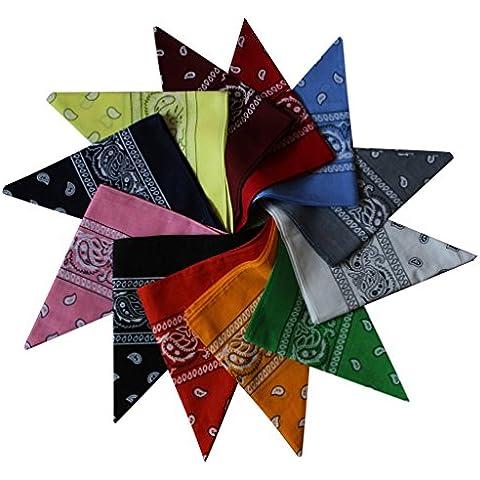 Pack de 12 Pañuelos Surtidos para el Cuello y la Cabeza de Diseño Paisley de Kurtzy TM