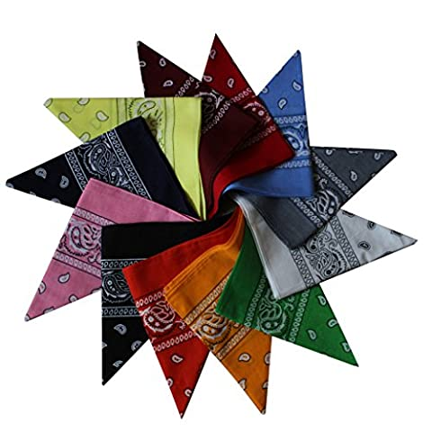 Colourful 12 Pack of Paisley Patterned Bandanas Neck Scarfs, Head Band- Assorted Colours by Kurtzy TM