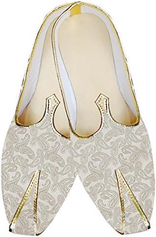 INMONARCH Crema Hombres Boda Zapatos Paisley Patrón MJ013240