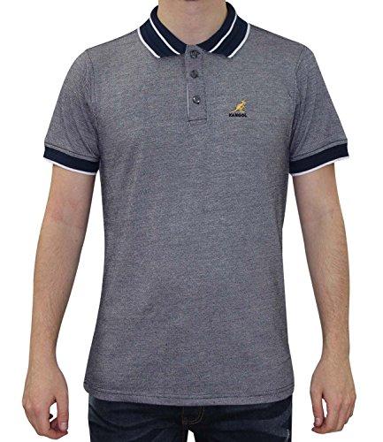 Neue Männer Kangol Designer Tipped Patterened Kragen Pique Polo Sommer T-Shirt Top Navy Marl
