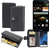 K-S-Trade 2in1 Handyhülle für Huawei Ascend Mate 7 32GB hochwertige Schutzhülle & Portemonnee Tasche Handytasche Etui Geldbörse Wallet Case Hülle schwarz