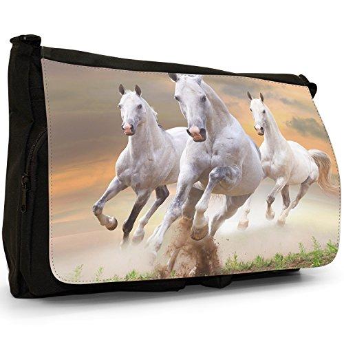 Superb bellissimo cavallo stallone, colore: bianco, misura grande, colore: nero, Borsa Messenger-Borsa a tracolla in tela, borsa per Laptop, scuola Nero (Team Of White Horses Running)