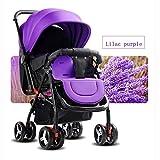 QXMEI Kinderwagen Sicherheit und Pflege 4 Räder Faltbare Einstellbare Kinderwagen Liegende Kindertrolley,Purple