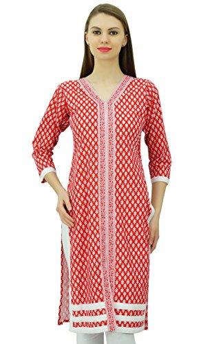 Phagun Les femmes coton col en V Kurta Kurti Imprimé Tunique Rouge et blanc