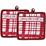 Yellow Weaves Set Of 2, Cotton Pot Holder, Color - Red, Size- 19 X 19 Cm