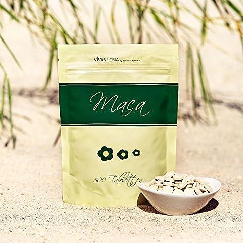 Geovitalis - Maca tableta de 500 mgr - 500 habitaciones - en una bolsa con cierre 100% puro sin aditivos
