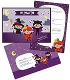 dabelino 8X Halloween Einladung für Kinder: Einladungskarten Zum Ausfüllen + Umschläge (Öko, klimaneutral Gedruckt)